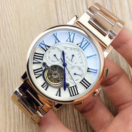 Wholesale Double Tourbillon - High Quality Replica Famous design Double Tourbillon Watch Men Automatic Mechanical Watches Waterproof Top Brand Luxury Men's Wristwatch