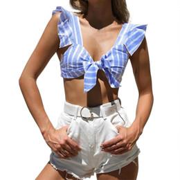 Rayas sin tirantes recortadas Tops Mujer Sexy tanque mujeres Tops Bow Tie Ruffles Short Top tela de la manera de las mujeres \ 's camisetas desde fabricantes