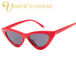 Wholesale cheap oval frames - IVSTA Cute Sexy Retro Cat Eye Sunglasses Women Small 2018 Triangle Vintage Cheap Sun Glasses Red Female UV400 Ladies Brand Designer