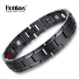 Wholesale Brand Bio - Hottime Brand Design Fashion Health Energy Bracelet Bangle Men Black Jewelry Stainless Steel Bio Magnetic Bracelet for Man