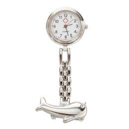 Gümüş Yunus Kuvars Hareketi Hemşire Broş Fob Tunik Pocket Watch supplier quartz dolphin watch nereden kuvars yunus saati tedarikçiler
