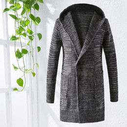 Wholesale Thick Hooded Cardigan Sweater - Men's hooded Cardigan Men's knit cardigan Jacket Sweater Long sweater