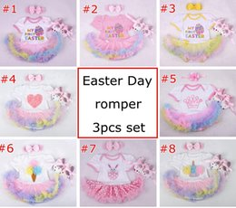 Wholesale Floral Outfits - Easter Day baby girls infant toddler 3piece outfits Princess Floral romper onesies jumpsuit lace tutu skirt pettiskirt + headband + shoes