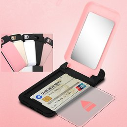 Wholesale Mirrors Covers - Luxury Flip Mirror Credit Card Holder Case Cover For iPhone X 8 7 6 Plus Hard PC+TPC Girls Cosmetic Mirror Cases