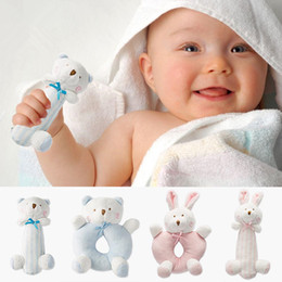 Wholesale Toy Ring Baby - Baby Bear Mobile Rattle Toys Plush Toy Ring Bell Newborn Musical Educational Hand Grasp Handbells Toys Soft Cotton Mobile Infant Crib Dolls