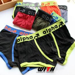 boxers de tecido Desconto Fashionfor Alpha exportação mens côncavas sacs boxer cuecas de algodão cintura baixa tecido de algodão solto underwearman para o homem Cuecas tamanho S-L