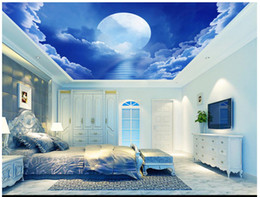 Mond zimmer tapete online-3D Wallpaper benutzerdefinierte Foto Decke Wandbild Tapete Schöne Traum Star Moon White Cloud Wohnzimmer Tapete Zenith Wandbild Hauptdekoration