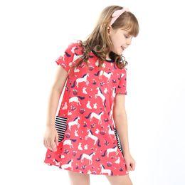 Wholesale Girls Pattern - Girls Summer Short Sleeves 100% Cotton Casual Dress 2018 Designer Kids Dress Patterns Printed Baby Clothing Playwear Dresses