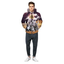 Wholesale Hamburger Man - Cats Stars 3D Digital Printing Zipper Jacket Hamburger Hoodies Men And Women With A Free Cardigan Coat