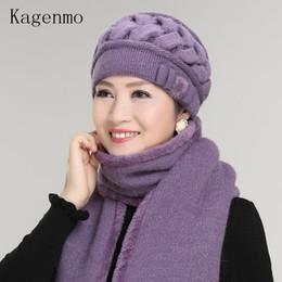 Chapéu de fio de pele de coelho on-line-Kagenmo coelho lã tricotada fio chapéu o idoso chapéu feminino inverno chapéu outono inverno feminino inverno quente boina cap pele térmica D18110102
