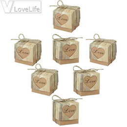 Wholesale Wrapping For Candy - 100pcs lot Romantic Heart Candy Box for Wedding Decoration Vintage Kraft Wedding Box Favors and Gift with Burlap Twine Chic