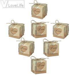 Wholesale gift box decoration vintage - 100pcs lot Romantic Heart Candy Box for Wedding Decoration Vintage Kraft Wedding Box Favors and Gift with Burlap Twine Chic