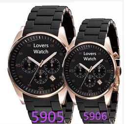 10ea1a2b1 luxury New Mens Black Rose Gold Chronograph AR5905 AR5906 Sport Watch Stop  Watches Men Rubber Wrist Hours + Box