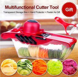 Wholesale Plastic Salad Boxes - Multifunction Vegetable Cutter With Storage Box Veggie Chopper Friut Salad Shredder Potato Peeler Creative Kitchen Tool YW689