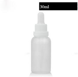 Weiße kappenschrauben online-Billiger Preis E-flüssiges wesentliches Öl Tropfpipette bereifte weißes freies Glas füllt 30ml mit Überwurfs-Kappe 440pcs los Freies Verschiffen