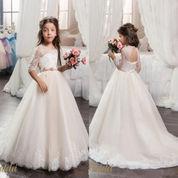 UK Flower Girls Dresses with Hoop Inside Flower Embroidered Party Wedding Bridesmaid Princess Dresses Formal Children Clothes DHgate Mobile
