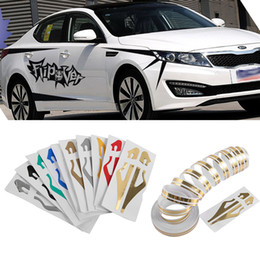 Wholesale Vinyl Silver - 12mm PinStripe Pin Stripe Tape Decal Vinyl Car Stickers Steamline White Gold Silver Double Line Motorcycle Car Styling Accessory