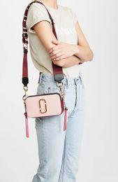 Wholesale Camera Straps Women - INS Hot Real Leather Flap Mini Camera Bag Crossbody Shoulder Bag For Lady Women Box Wide Shoulder Straps Fashion MJ Paillette