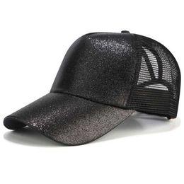82b83ded353a0 ponytail hats Promo Codes - Girls Glitter Hat Ponytail Baseball Cap  Snapback Messy Bun Caps For