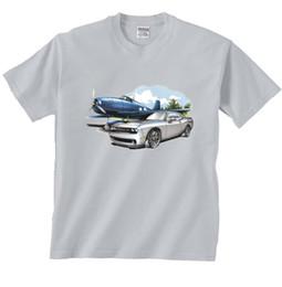 Camiseta de aviões on-line-Dodge Challenger e Velho Avião de Combate F6 F5 HELLCAT T-Shirt terno chapéu rosa t-shirt RETRO VINTAGE Clássico t-shirt