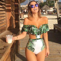Wholesale Backless Halter Bodysuit - trend The New One Piece Swimsuit Sexy Swimwear Vintage Women Summer Beach Wear Bathing Suit Bandage Backless Halter Top Monokini Bodysuit