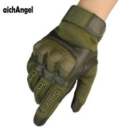 Тактические резиновые жесткие ножи Полный перчатки перчатки армии Пейнтбол съемки ПУ кожаные перчатки сенсорного экрана от