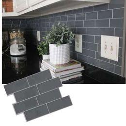 Vara de vinil on-line-Tijolo cinza Metrô Telha Casca e vara Auto Adesivo de Parede decalque Adesivo DIY Cozinha Banheiro Home Decor Vinil 3D