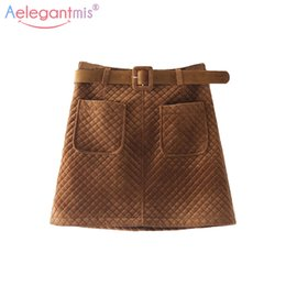 Wholesale Wool Skirts Vintage - Aelegantmis Fashion Plaid Wool Blend High Waist Skirt Women Autumn Winter Brown Velvet Vintage Mini Skirt Female Chic Skirts