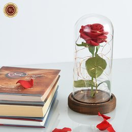 Wholesale Red Rose Beauty - Wholesale-WR Valentine's Day Red Rose in a Glass with Dark Base Beauty and Beast with LED Light Rose for Mother's Day Gifts