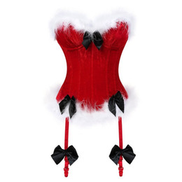 Wholesale women halloween costumes santa - Christmas Sexy Corsets For Women Miss Santa Bustier Top Red Corselet Overbust Corset Bow Halloween Costume Cosplay Fashion