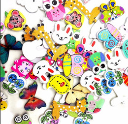 Wholesale Diy Handmade Accessories - Cartoon Woodiness Button Lovely Coloured Animal Wood Fastener Handmade DIY Sewing Decorate Buttons Clothing Accessories Hot Sale 4 3tt Y