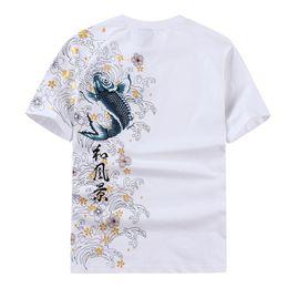 Wholesale tattoo sleeve t shirts men - Mens Short Sleeved T-shirt Embroidered carp 1 2 Sleeve Summer Tattoo Casual Men Tops