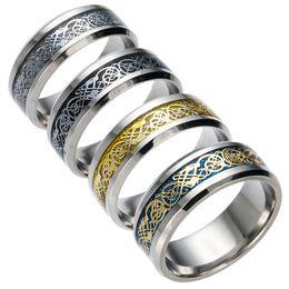 anel de aço inoxidável 316l dragão Desconto Anel de Aço Inoxidável bonito Mens Jóias Vintage Dragão De Ouro 316L para Homens Senhor Casamento Masculino Anel de Banda De Luxo para Os Homens Amantes Anéis