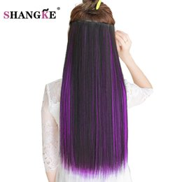 Wholesale heat resistant synthetic hair extension - SHANGKE 24''Long Colored Hair Extension 5 Clip In Hair Extensions Natural Heat Resistant Synthetic Hairpiece 29 Colors Available