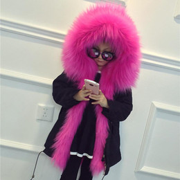 Wholesale Winter Feather Jacket Girls - 2018 Hot Style Winter Parker Kids Coats Long Soft Fur Hooded Long Sleeves Thicken Warm Girl Long Jackets Children Cotton Padded clothes