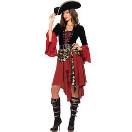 2018 Halloween Mulheres Caribe Piratas Traje Cosplay Adulto Fêmea Cruel Seas Capitão Buccaneer Traje Do Pirata Vestidos Extravagantes de