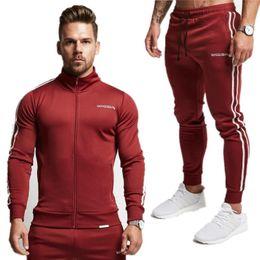 Kleidung setzt tropfenverschiffen online-2018 Männer Set Mode Frühling 2 Stück Sporting Suit Jacket + Hose Sweatsuit Kleidung Trainingsanzug Sweatshirt Sportbekleidung Drop Shipping