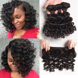 Wholesale Good 4x4 - Good Quality Top Lace Closure With Funmi Hair 3Bundles Peruvian Romance Curly Human Hair Weft With 4x4 Lace Closure