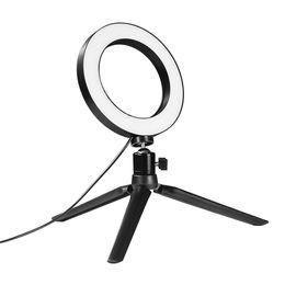 "Morsetti luminosi online-Photo Studio LED Ring Light 6 ""16cm 3200-5600K 64 LED Selfie Ring Lamp Illuminazione fotografica con treppiede Moblie Phone Clamp"