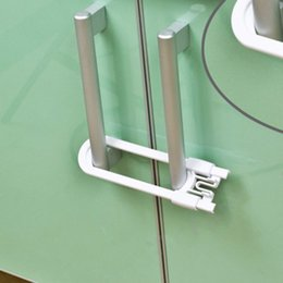 Wholesale Handles For Kitchen Doors - Nosii 2pcs Sliding Cabinet Locks U Shaped Baby Safety Childproof Cabinet Latch for Kitchen Bathroom Doors Knobs and Handles