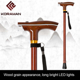 lâmpadas antigas Desconto NOVO velho homem vara com lâmpada inteligente cor de madeira multifuncional muleta haste de iluminação escalável vara ao ar livre antiga