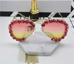 Wholesale Transparent Polarized Glasses - Ladies Luxury polarized Sunglasses Women Designer Diamond Flower Female Transparent Frame Handmade Rhinestone Sun Glasses For Woman