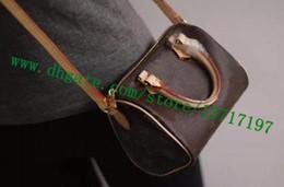 Argentina Bolso de señora de cuero real revestido de la lona marrón del grado superior Bolso de belleza del bolso de mensajero de las mujeres NANO SPEEEDY M61252 Suministro