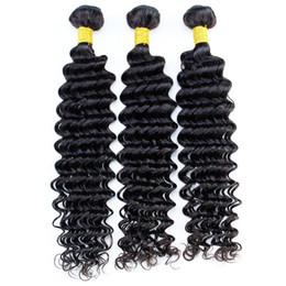 Extensões de cabelo permanente on-line-Remy Feixes de Cabelo Humano Brasileira Extensões de Cabelo Virgem Onda Profunda Cor Natural Preto 1B Pode Ser Tingido Pode Ser Permed 3 \ 4 \ 5 Pacotes