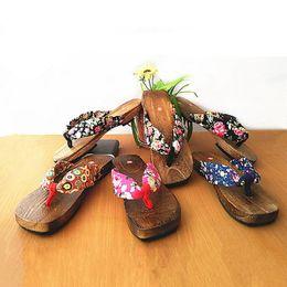Wholesale Geta Sandals - Wholesale-Trendy Hot Lady Bidentate Flip Flops Flower Sandals Slipper Shoes Japanese Geta Clogs Women Summer Wooden Slippers#SJL323