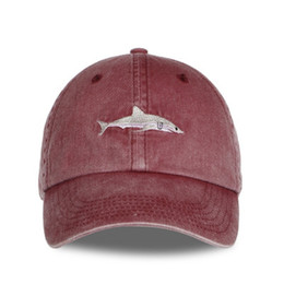 a974606909a Cheap Cotton Wash Baseball Caps Casquette Outdoor Sports Men Hats Shark  Embroidery Dad Hat For Women Gorras Planas Snapback Bosco DHL FREE