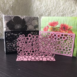 Wholesale beautiful craft rooms - Beautiful gift iron art craft black pink flower napkin paper holder tissue block rack home hotel cafe bar party table decoration