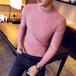 Stand ropa ropa ropa online-DEKUSI Otoño e Invierno Patrón Collar de pie Color sólido Punto superior Prenda de vestir para hombre Ropa de suéter de renderizado