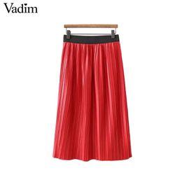 5273779588 2019 falda roja plisada Vadim mujer PU cuero faldas plisadas rojas faldas  mujer cintura elástica sólido