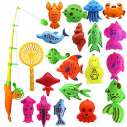 galleggianti di pesci netti Sconti Giocattolo da bagno, 22pcs Magnetico galleggiante giocattolo da pesca Set comprende una canna da pesca e una rete da pesca per ragazzi ragazze bambini piccoli